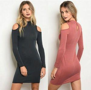 Cold Shoulder Long Sleeve Bodycon mini Dress